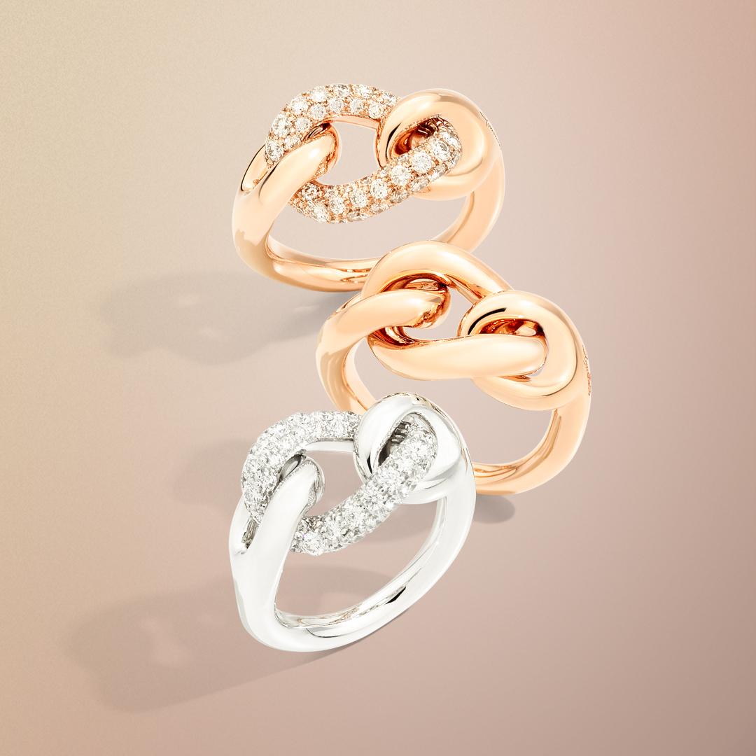 Ringe der Kollektion Catene von Pomellato bei Mezger Uhren und Juwelen Basel